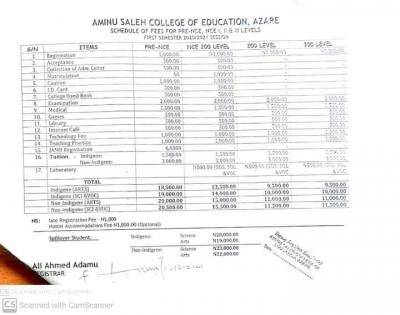 Aminu Saleh COE school fees for 2020/2021 session