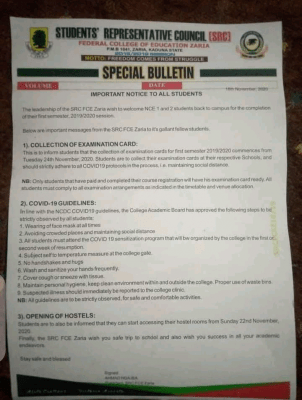 Students' Council of FCE Zaria issues notice to all students