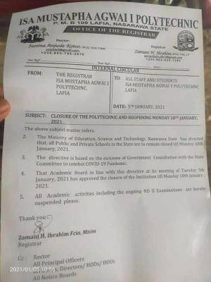 Isa Mustapha Agwai Polytechnic notice on closure and resumption