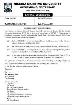 Nigerian Maritime University postpones resumption
