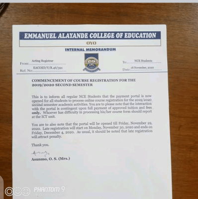 Emmanuel Alayande COE notice on 2nd semester registration for 2019/2020 session