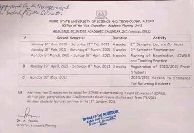 KSUSTA adjusted academic calendar for 2019/2020 session