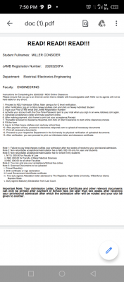 NDU 1st Batch admission list for 2020/2021 session