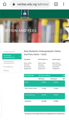 Veritas University Fees Schedule for New and Returning Students for 2020/2021 Academic Session