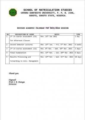 UDUSOK school of matriculation studies revised academic calendar