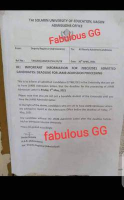 TASUED notice to admitted students yet to obtain JAMB admission letters