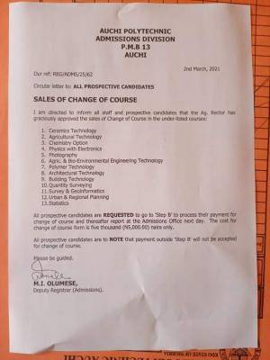 Auchi Poly change of course form, 2020/2201