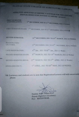 Plateau State COA adjusted academic calendar, 2019/2020 for NDII & ODII students
