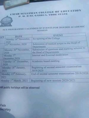 Umar Suleiman College of Education revised academic calendar for 2019/2020 session