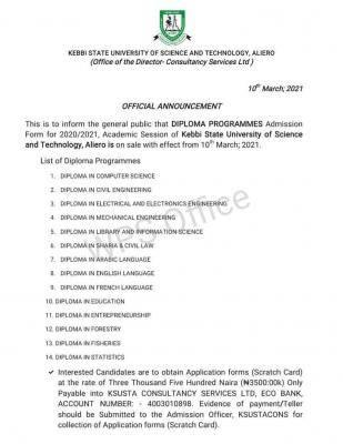 KSUSTA diploma admission form for 2020/2021 session
