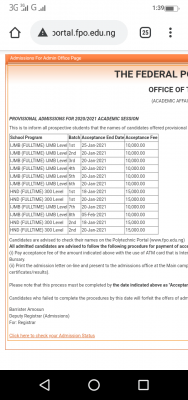 Federal Polytechnic, Offa batch 8 IJMB admission list for 2020/2021 session
