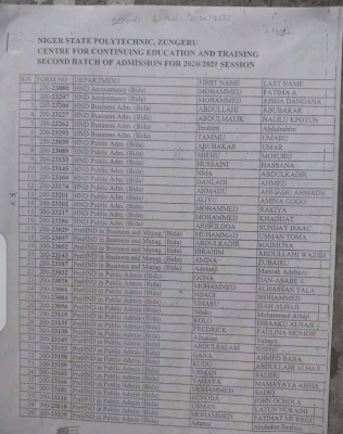Niger State Poly 2nd Batch Part-time admission list for 2020/2021 session