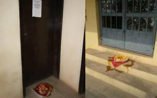 Sacrifice (Juju) Placed In Front Of LAUTECH Professor's Office