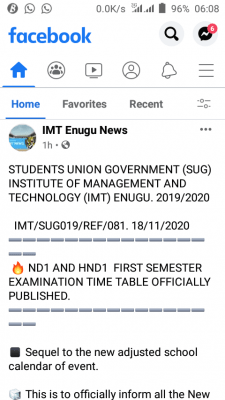 IMT Enugu NDI AND HNDI 1st semester exam timetable, 2019/2020