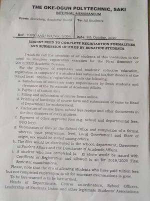 Oke-Ogun Poly, Saki notice to students on completion of registration before exam