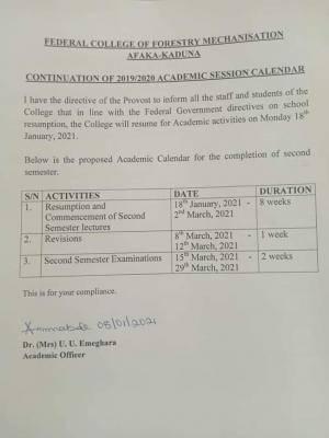 Federal College of Forestry Mechanisation, Afaka-Kaduna revised calendar for 2019/2020 session