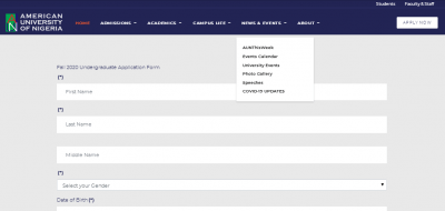 AUN Post-UTME/DE 2020: Cut-off mark, Eligibility and Registration Details