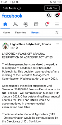 LASPOTECH notice on commencement of 2nd semester exam for 2019/2020 session