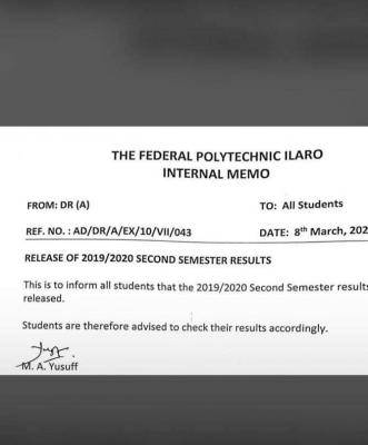 Fed Poly Ilaro Second Semester Results, 2019/2020