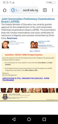 OAU final supplementary Pre-degree & JUPEB entrance exam, 2020/2021