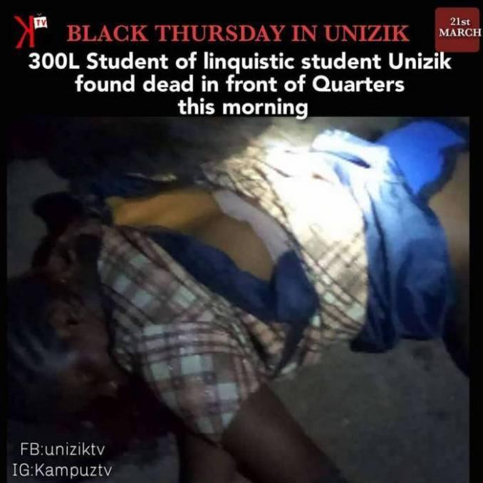 Female UNIZIK Student Found Dead Near Commissioners Quarters In Anambra