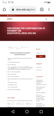 EKSU notice on procedure for confirmation of payment on school portal