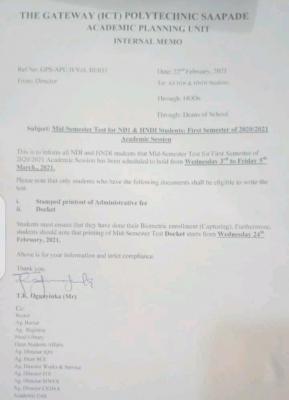 Gateway Polytechnic mid semester test for NDI and HND 1 students