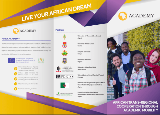 African Trans-Regional Cooperation through Academic Mobility (ACADEMY) Scholarships for African Staff/Students 2020
