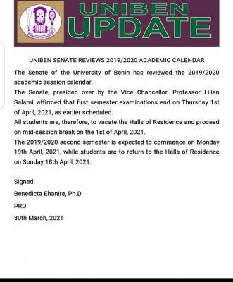 UNIBEN notice on the review of 2019/2020 academic calendar
