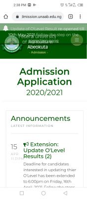 FUNAAB re-opens portal for uploading of O'level results