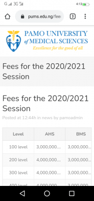 Pamo University of Medical Sciences school fees for 2020/2021 session