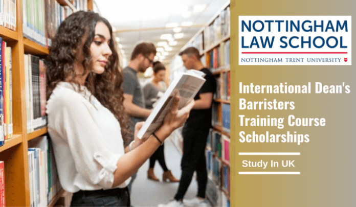 Dean's Barristers Training Course Scholarships 2021 at Nottingham Law School – UK