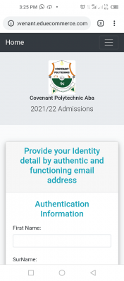 Convenant Polytechnic, Aba admission for 2021/2022 session