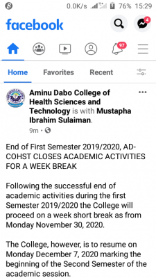 Aminu Dabo College of Health Sciences first semester break for 2019/2020