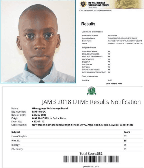 Meet David Who Obtained Straight A's in WAEC and Scored 332 in JAMB