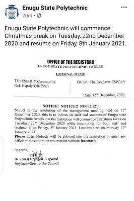 Enugu State Polytechnic notice on Christmas break and resumption