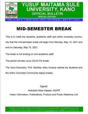 YUMSUK announces mid-semester break