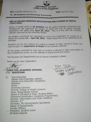 UNIUYO notice on closure of portal for 2nd semester registration, 2019/2020
