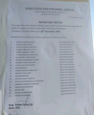 Kogi state polytechnic notice to prospective corps members of the Institution