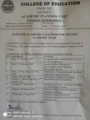 COE Igueben revised academic calendar for 2019/2020 session