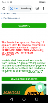 Fountain University notice on resumption to new and returning students