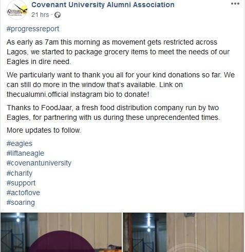 Covid19: Covenant University Alumni Provides Food For Alumni in Need