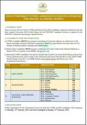 SLU Post-UTME/DE 2020: Cut-off mark, Eligibility and Registration Details