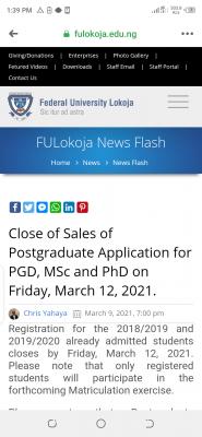 FULOKOJA notice on postgraduate application and registration deadline