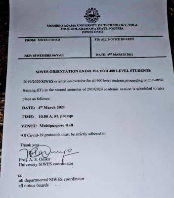 MAUTECH notice on SIWES orientation for 400L Students