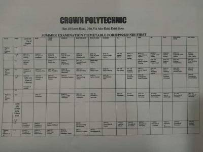 Crown Polytechnic summer examination 2019/2020 session