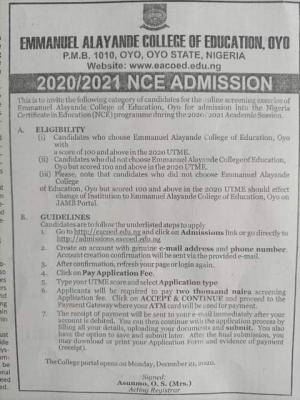 Emmanuel Alayande COE, Oyo NCE Admission for 2020/2021 session