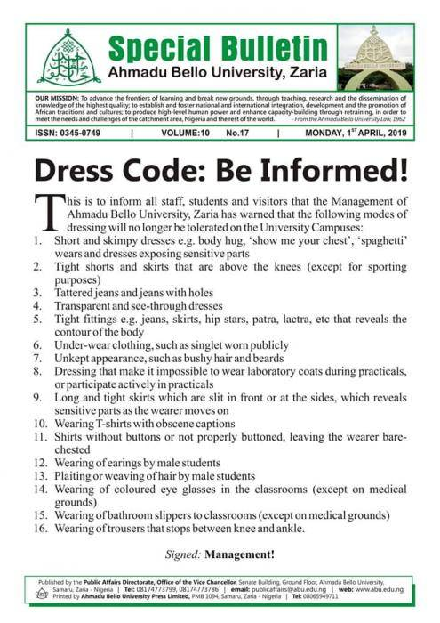 Ahmadu Bello University Shock Students with New Dress Code