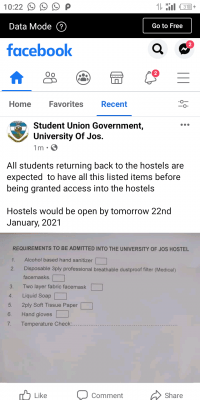 UNIJOS SUG notice on requirements for students residing in hostels