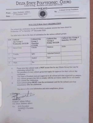 Delta State Polytechnic Ozoro issues memo on SUG cultural day celebration